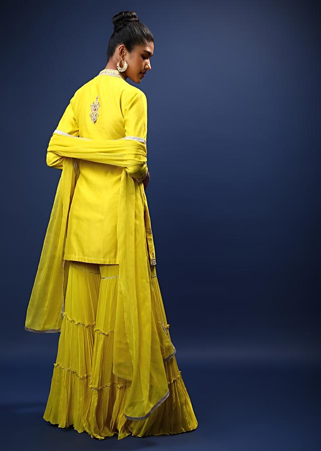 Canary Yellow Sharara Suit With Gotta Patti Embroidered Ethnic Motifs On The Centre Panel Online - Kalki Fashion
