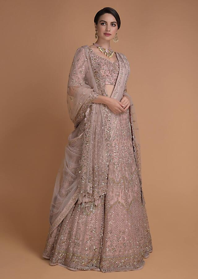 Candy Floss Pink Lehenga Choli In Net With Heritage Jaal Embroidery Online - Kalki Fashion