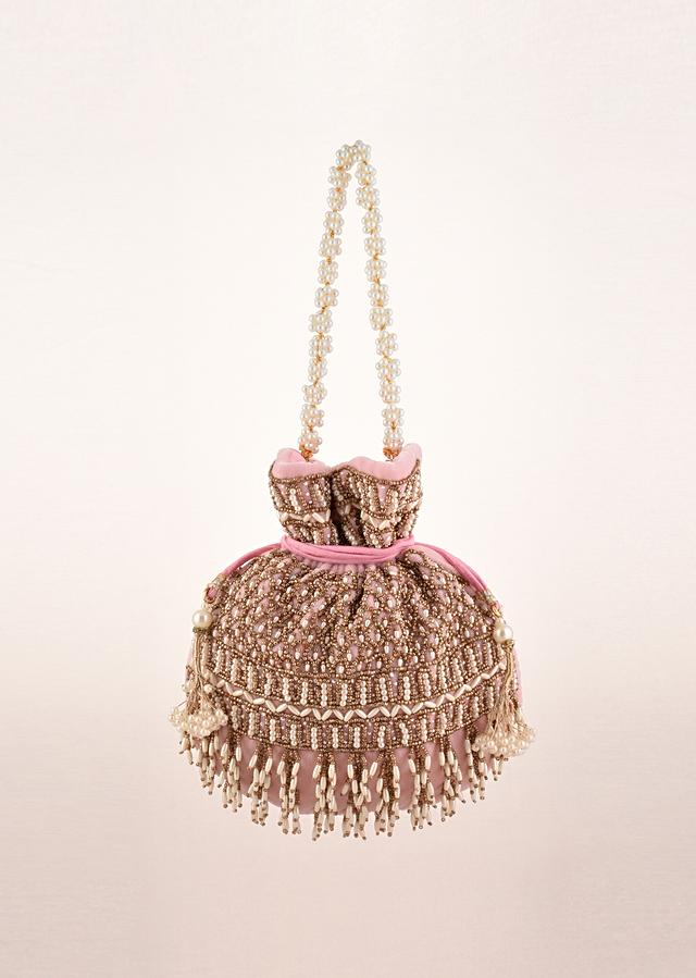 Candy Floss Pink Potli In Velvet Heavily Embroidered With Beads And Moti Work In Scalloped And Tassel Design By Shubham