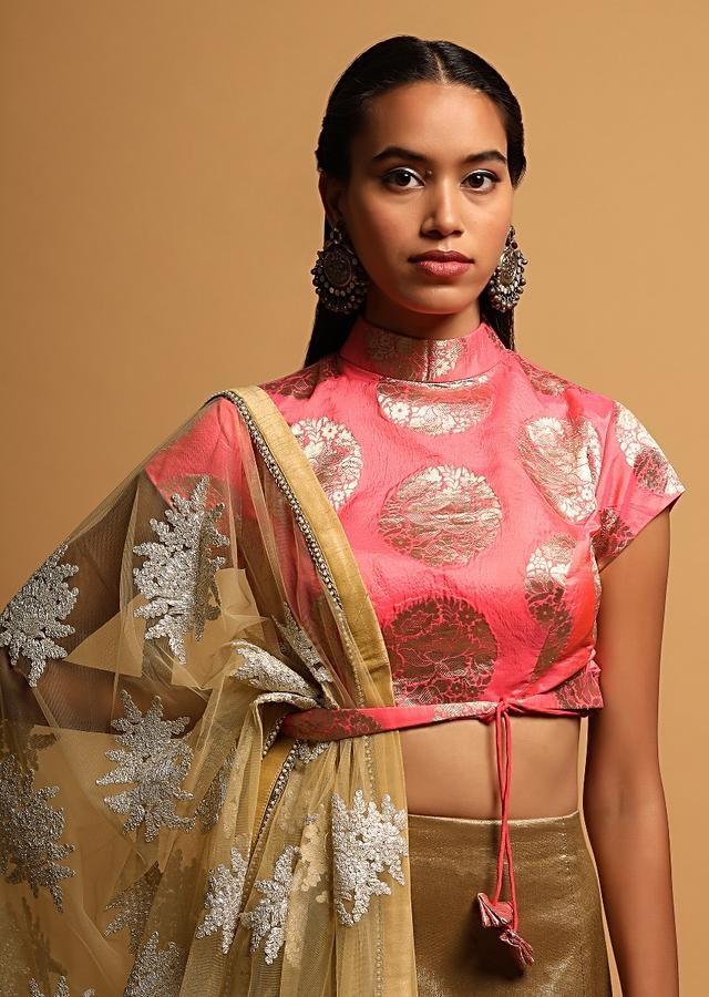 Candy Pink Blouse In Brocade Silk With Woven Round Floral Motifs And Attached Tie Up Belt Online - Kalki Fashion