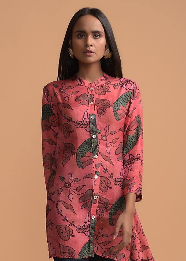 Candy Pink High Low Dhoti Suit In Cotton Blend With Nature Inspired Print Online - Kalki Fashion