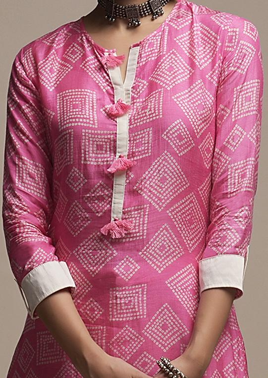 Candy Pink Straight Cut Kurti In Cotton With Bandhani Print In Geometric Design And Tassels On The Placket Online - Kalki Fashion