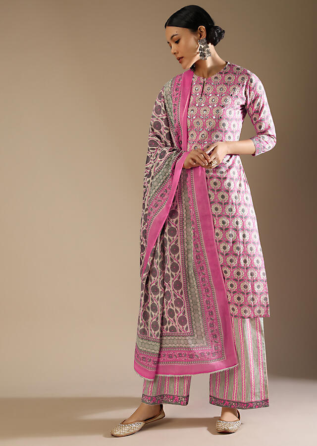 Candy Pink Straight Cut Palazzo Suit With Jaal Print And Mirror Embroidery Online - Kalki Fashion