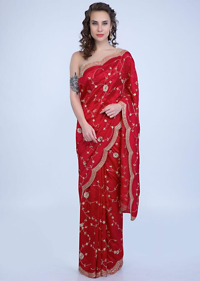 Candy Red Saree In Dupion With Floral Jaal Embroidery And Scallop Embroidered Border Online - Kalki Fashion