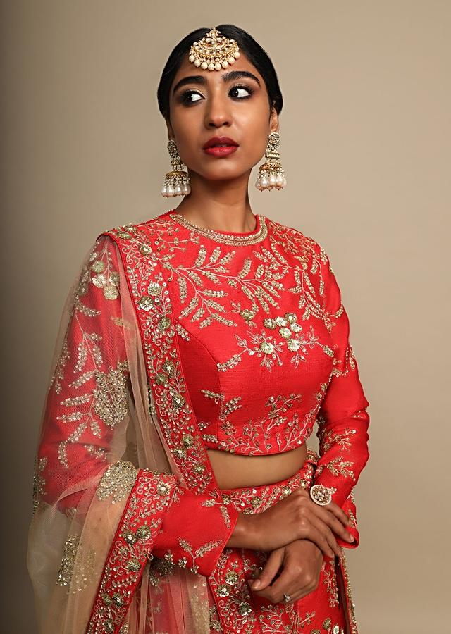 Candy Red Lehenga Choli In Raw Silk With Delicate Zari Embroidered Floral Design Online - Kalki Fashion