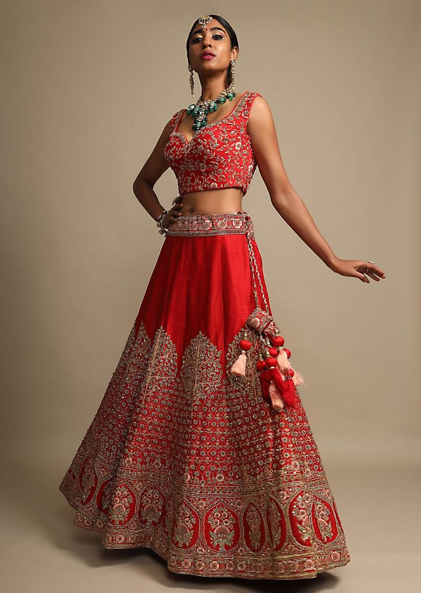 Candy Red Lehenga Choli In Raw Silk With Resham Embroidered Floral And Moroccan Kalis Online - Kalki Fashion