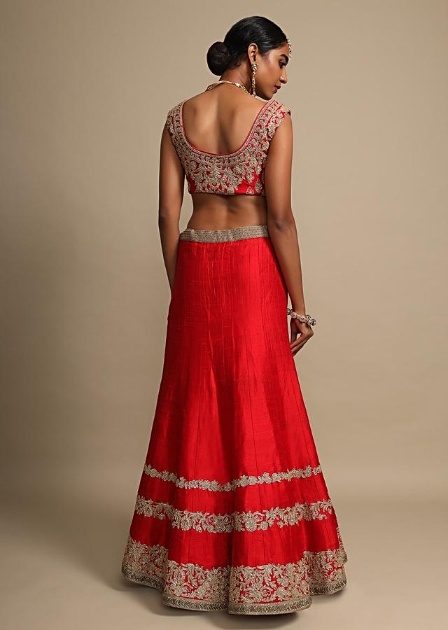 Candy Red Lehenga Choli With Zari Embroidered Dainty Floral Stripes On The Hem Online - Kalki Fashion
