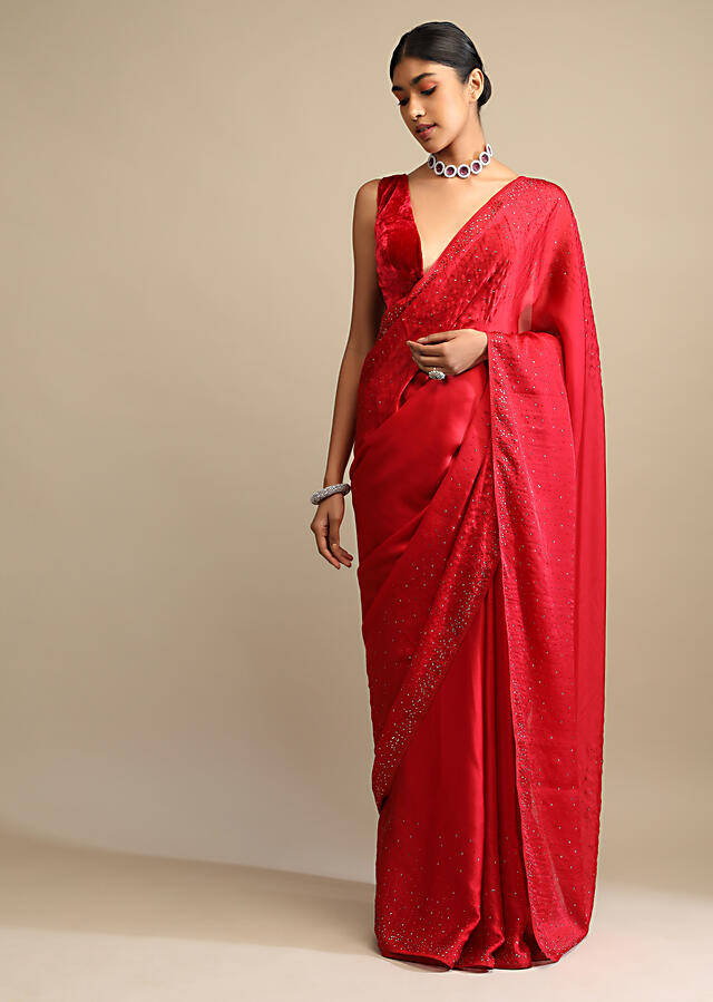 Candy Red Saree In Satin Embellished With Scattered Red And Silver Kundan Along The Border And Unstitched Blouse Online - Kalki Fashion