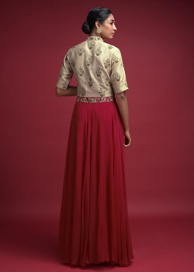 Candy Red Skirt And Beige Crop Top With Embroidered Floral Pattern Online - Kalki Fashion