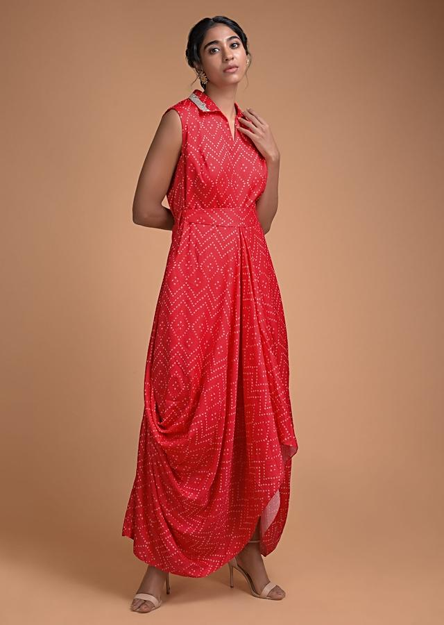 Candy Red Tunic Dress With Bandhani Print In Geometric Pattern And Cowl Details Online - Kalki Fashion