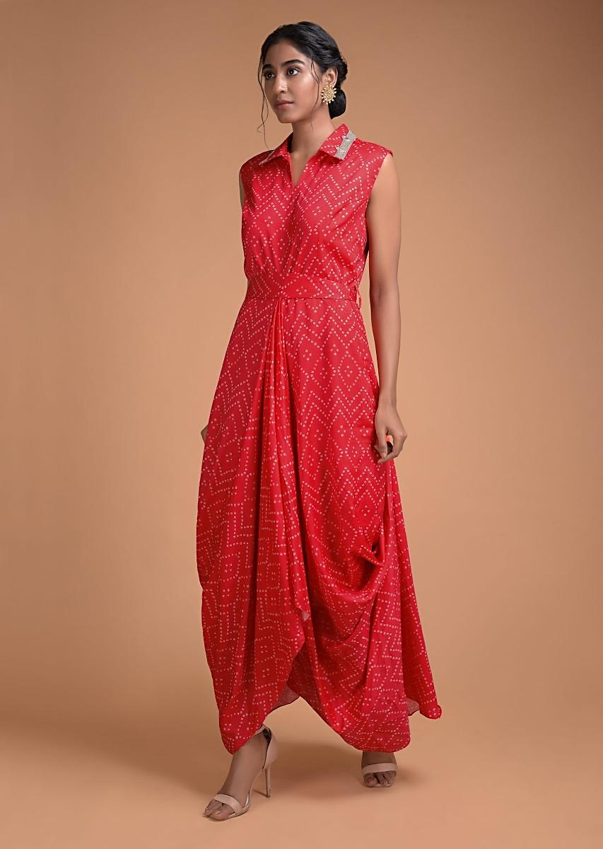Candy Red Tunic Dress With Bandhani Print
