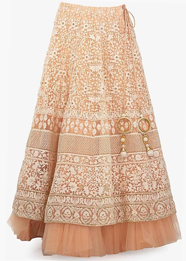 Cantaloupe Peach Lehenga Choli In Net With Thread Embroidery Online - Kalki Fashion