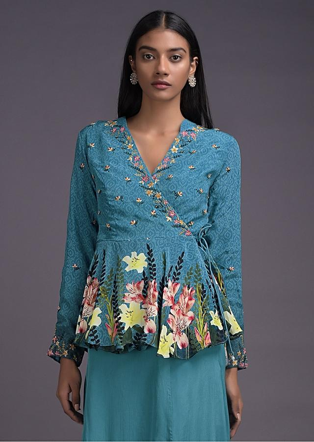 Capri Blue Lehenga And Peplum Top In Angrakha Style With Floral Print And Embroidery Online - Kalki Fashion
