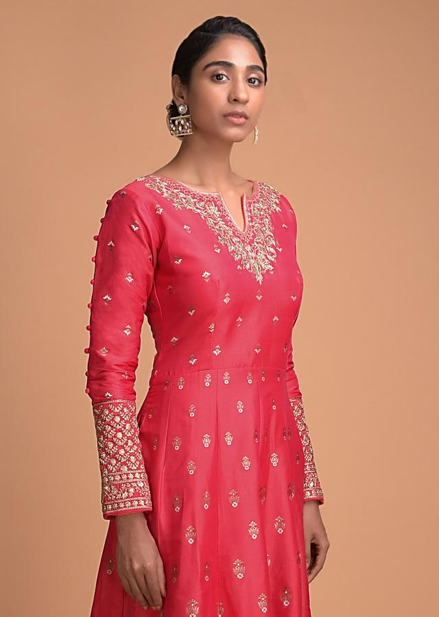 Carmine Red Anarkali Suit With Weaved Floral Buttis And Embroidered Neckline Online - Kalki Fashion