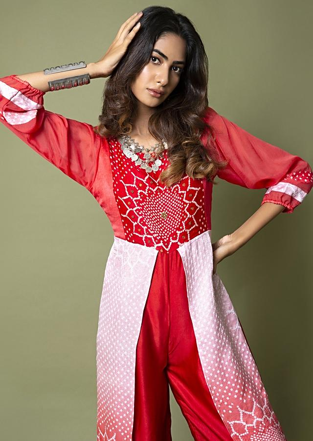Carmine Red And Ivory Paneled Jumpsuit With Bandhani Design And Hand Embroidery Online - Kalki Fashion