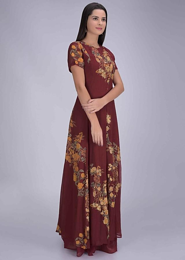 Carmine Red Front Slit Suit In Georgette With Sharara Pants Online - Kalki Fashion