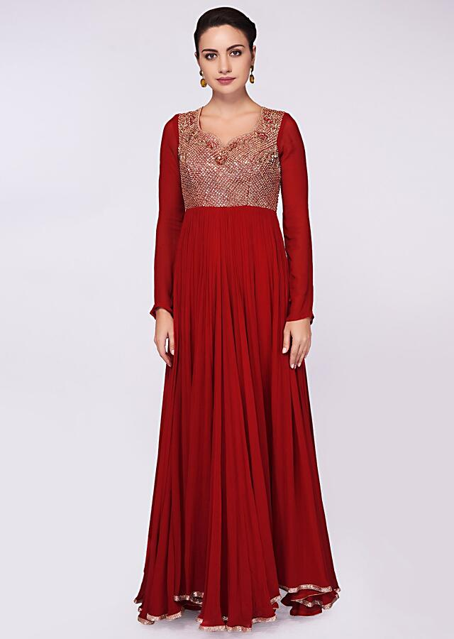 Carmine Red Anarkali Dress In Georgette With Embroidered Bodice Online - Kalki Fashion