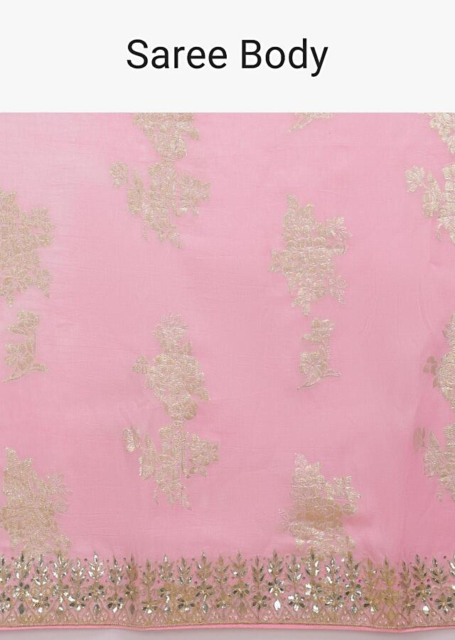 Carnation Pink Saree In Silk With Weaved Floral Motifs In Repeat Pattern Online - Kalki Fashion