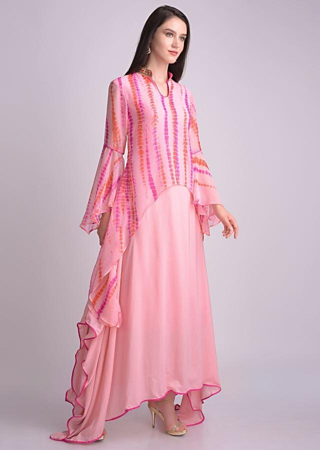 Carnation Pink Tunic With High Low Hem And Attached Tie Dye Top Layer Online - Kalki Fashion