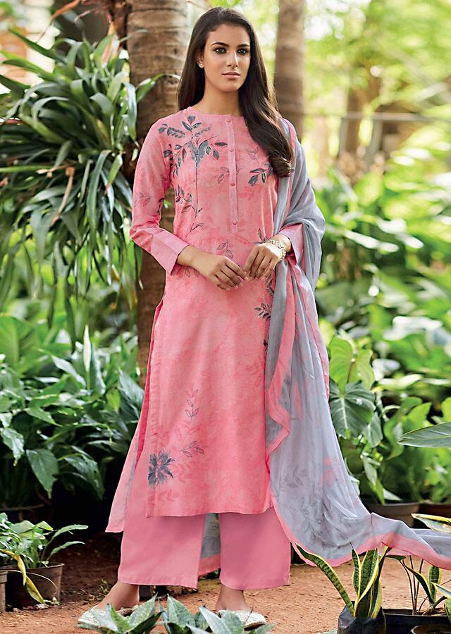 Carnation Pink Unstitched Cotton Suit Set With Leaf Print And Embroidery Online - Kalki Fashion