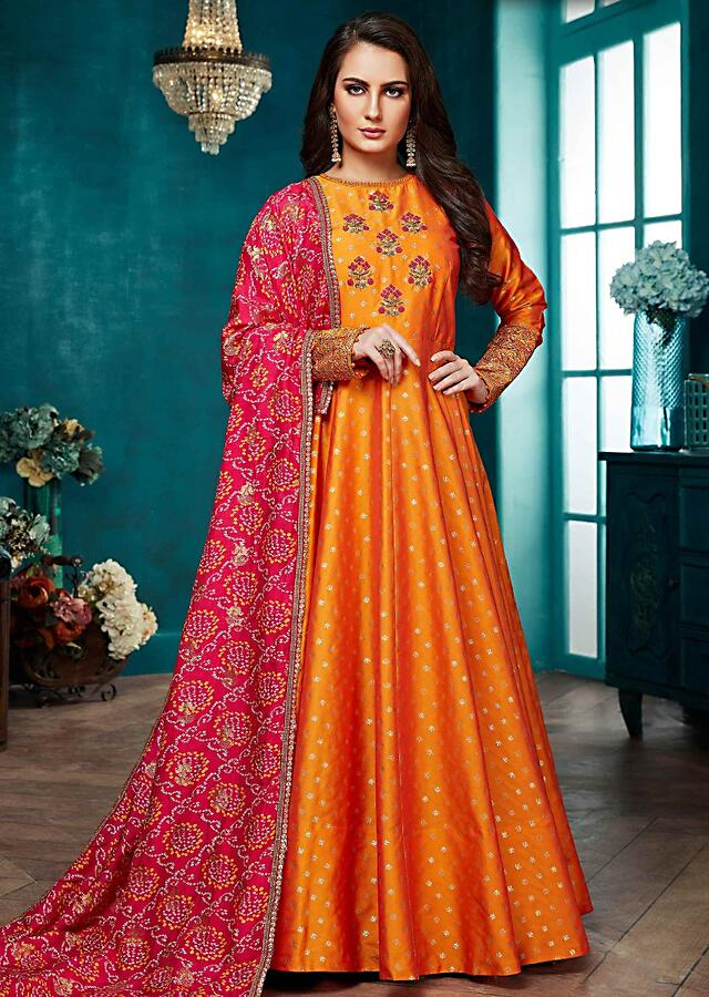 Carrot Orange Anarkali Suit WIth Magenta Bandhani Printed Dupatta Online - Kalki Fashion
