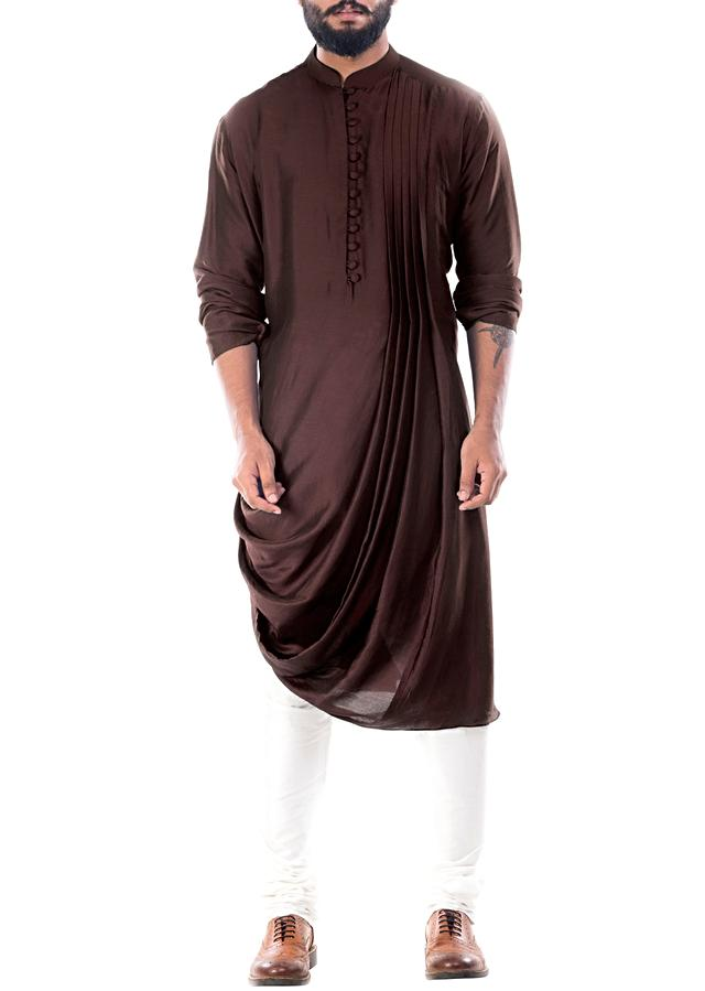Cedar Brown Kurta With Cowl Drape And Churidar Pants Online - Kalki Fashion