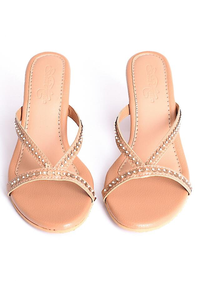Celine in Beige Strappy Heels With Tikki And Bead Embroidery On The Block Heel By Sole House