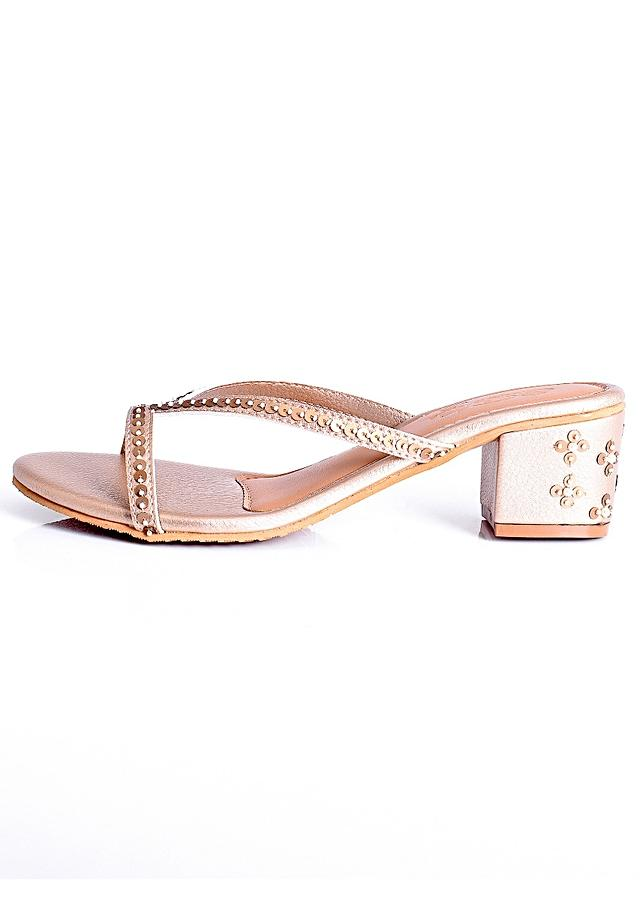 Celine in Gold Strappy Heels With Tikki And Bead Embroidery On The Block Heel By Sole House