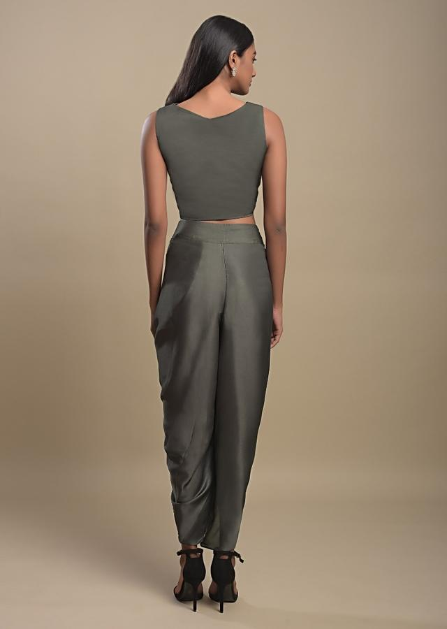 Celtic Green Dhoti Suit In Satin And Rust Orange Printed Jacket With Ruffle Sleeves Online - Kalki Fashion