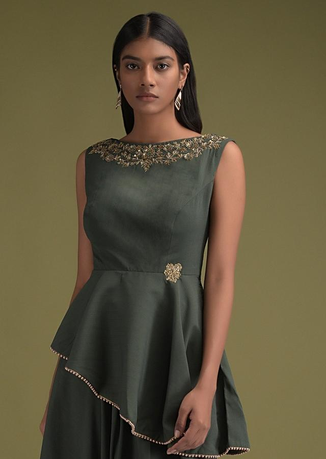 Celtic Green Palazzo Suit And Matching Peplum Top With Asymmetric High Low Hem  Online - Kalki Fashion