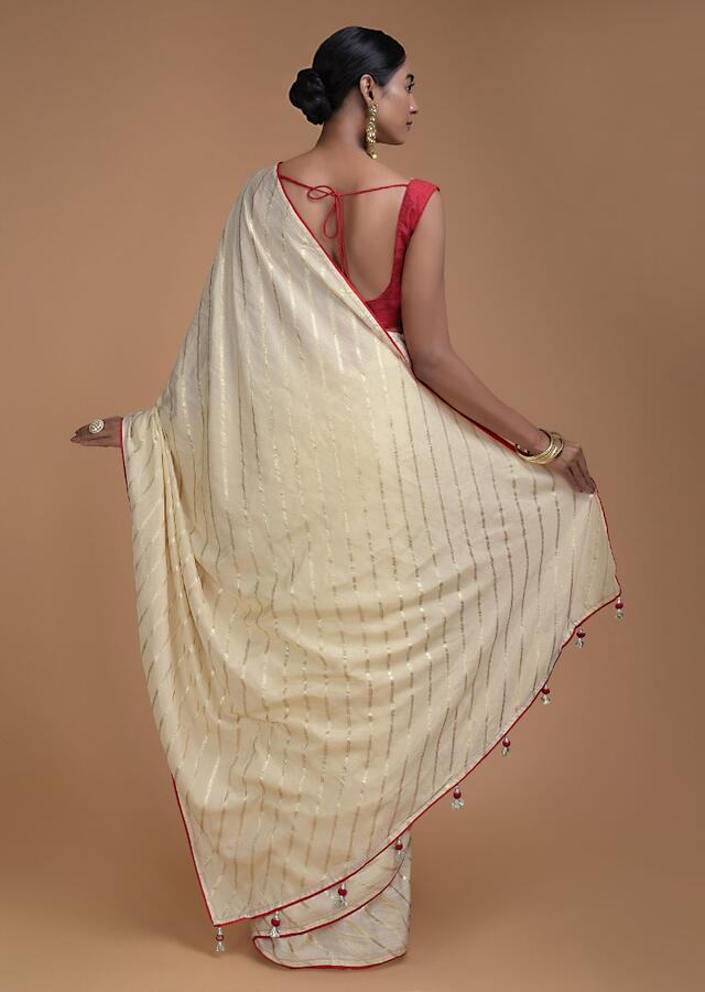 Champagne Beige Saree In Silk With Weaved Diagonal Stripes All Over Online - Kalki Fashion