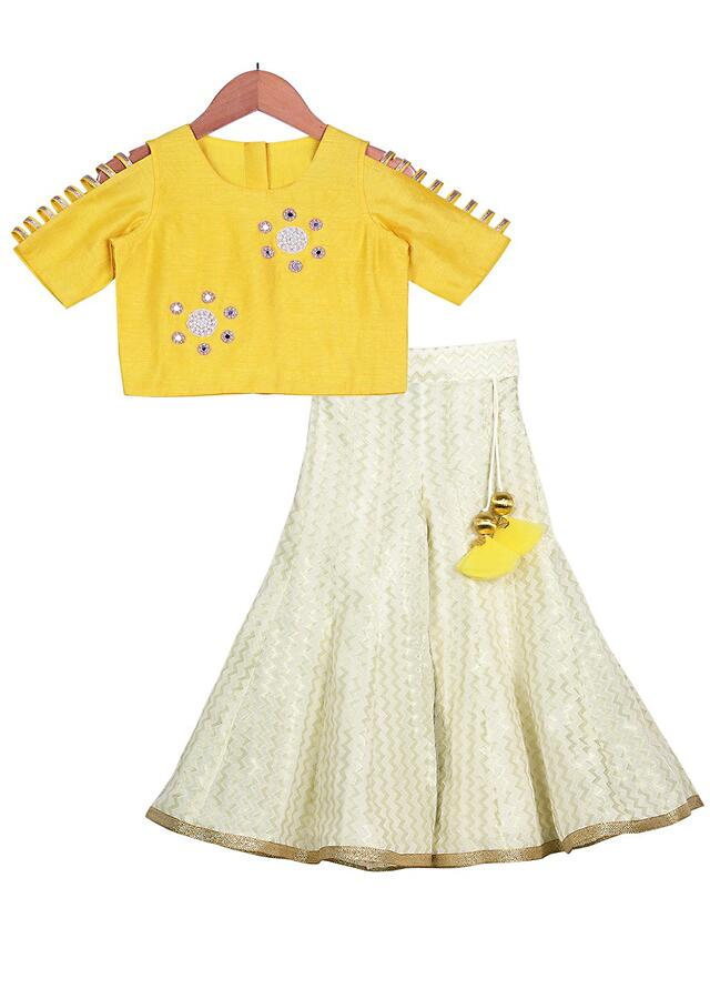 Champagne Brocade Palazzo And Yellow Crop Top With Cut Out Sleeves And Pearls Online - Free Sparrow