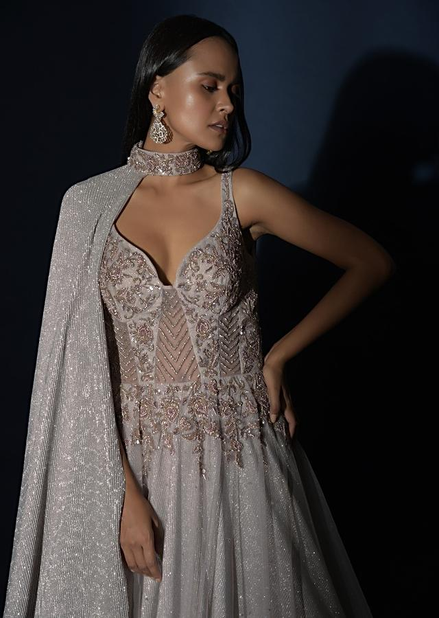 Champagne Embellished Gown With Plunging Neckline And A Fancy Choker With Attached Cape Online - Kalki Fashion