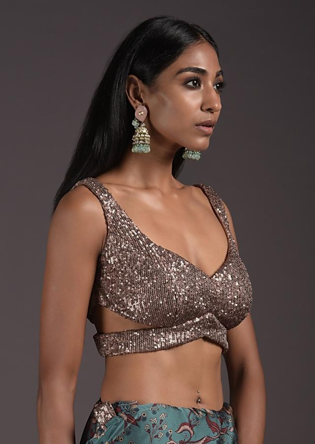 Champagne Gold Sleeveless Blouse In Sequins Fabric With Cutouts On The Sides And Back Online - Kalki Fashion