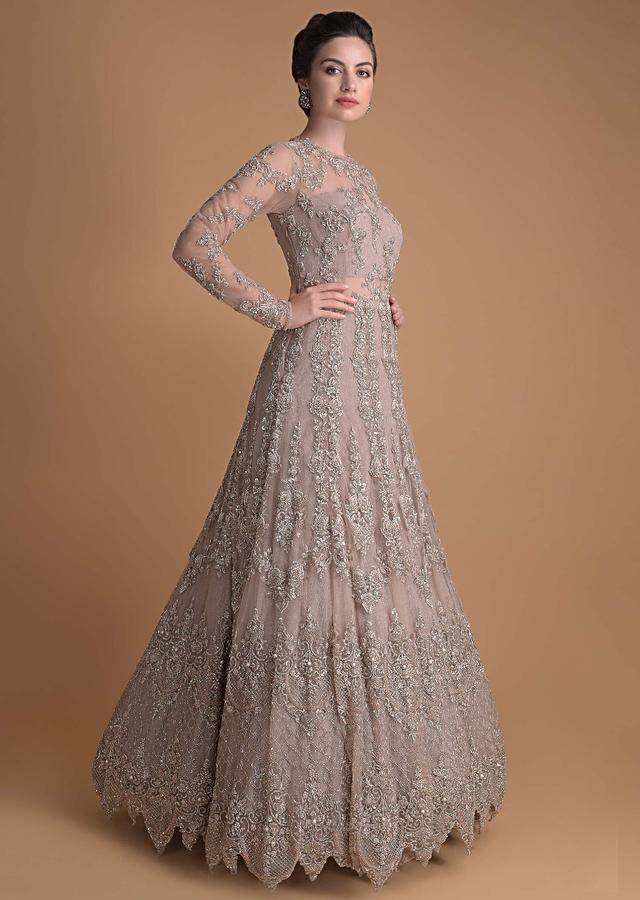 Shell Champagne Gown In Hand Embroidered Net With Floral And Moroccan Pattern Online - Kalki Fashion
