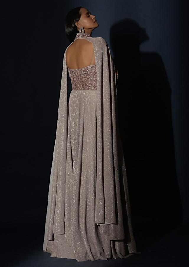 Champagne Gown With Embellished Sweetheart Cut Bodice And Spaghetti Straps Online - Kalki Fashion