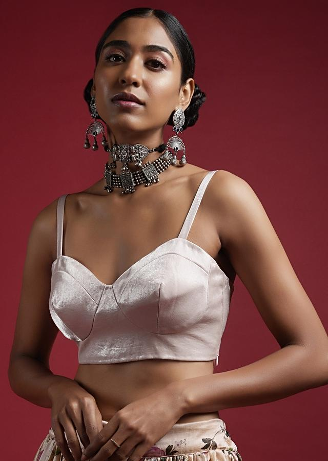 Champagne Pink Blouse In Milano Satin With Corset Neckline And Straps On The Shoulders Online - Kalki Fashion
