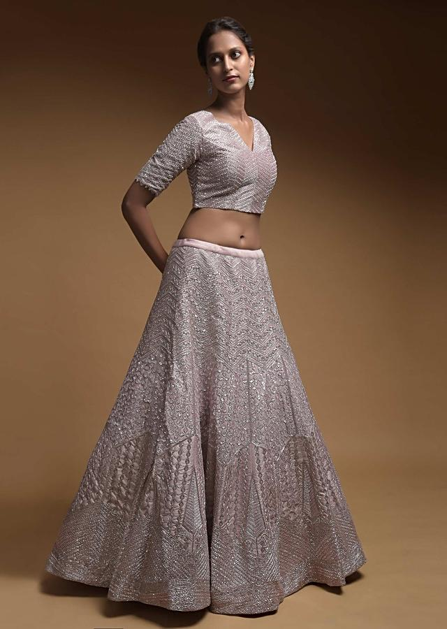 Champagne Pink Lehenga Choli In Raw Silk With Intricately Embroidered Geometric Pattern Online - Kalki Fashion