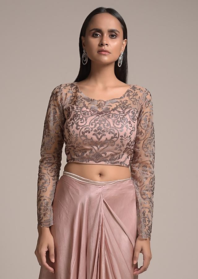 Champagne Pink Ready Pleated Ruffle Saree In Satin With Layered Design And Kundan Embellished Blouse Online - Kalki Fashion