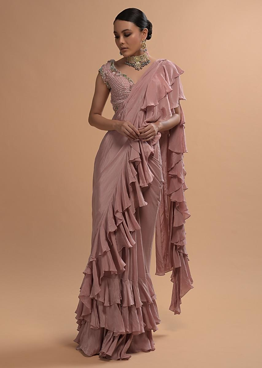 Buy Champagne Pink Ready Pleated Ruffle Saree With 3d Flower And Checks Embroidered Cap Sleeve Blouse Online Kalki Fashion