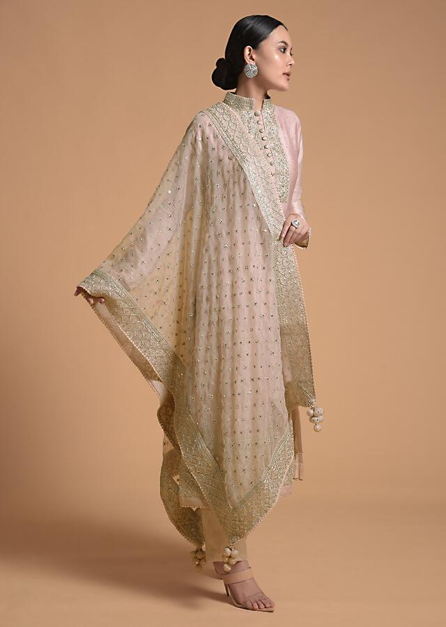 Champagne Peach Straight Cut Suit With Heavy Cord Embroidered Placket And Border Online - Kalki Fashion