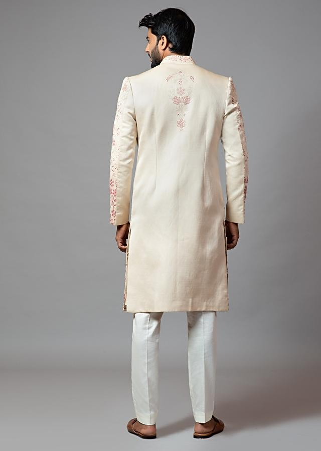 Champagne Sherwani Set In Linen Satin With Aari Embroidered Floral Design All Over By Smriti Apparels