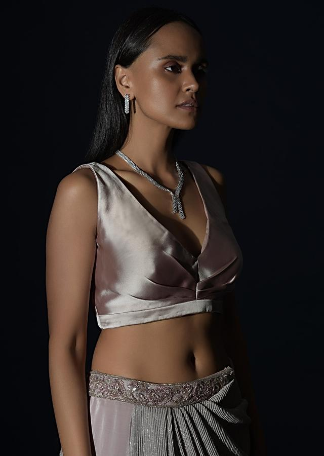 Champagne Sleeveless Crop Top In Satin With Pleat Details And Plunging Neckline Online - Kalki Fashion