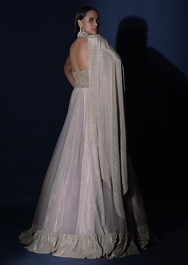 Champagne Strapless Gown With Embroidered Bodice And Fancy Cape Attached To A Choker Online - Kalki Fashion