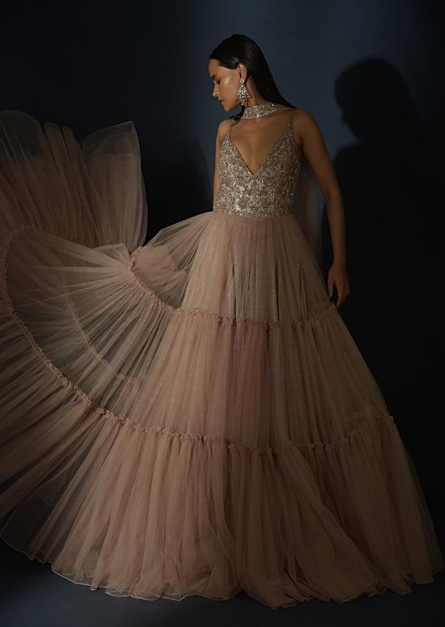 Champagne Tiered Gown With An Embellished Plunging V Cut Bodice And Shimmer Underlayer  Online - Kalki Fashion