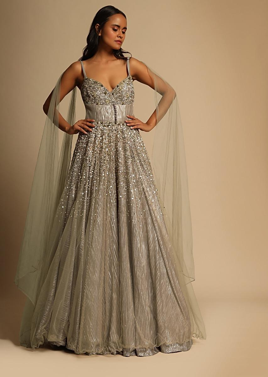Champagne Beige Gown In Embroidered Net With Front And Back Attached Drape Online - Kalki Fashion