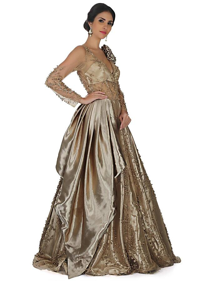 Champagne Gold Gown In Embroidered Net And Pearl Work Online - Kalki Fashion