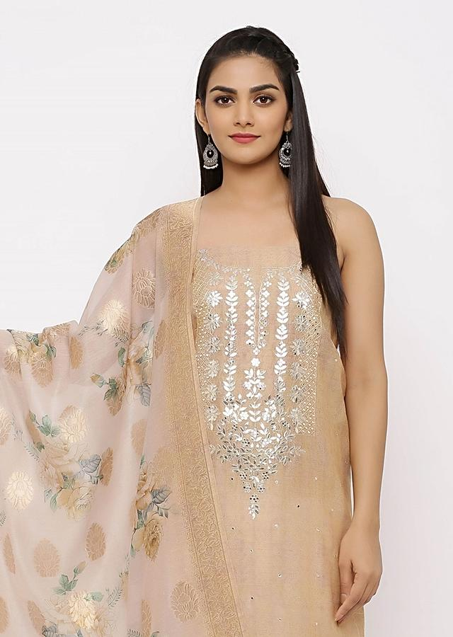 Champaign Gold Unstitched Suit With Gotta Patch Work Online - Kalki Fashion