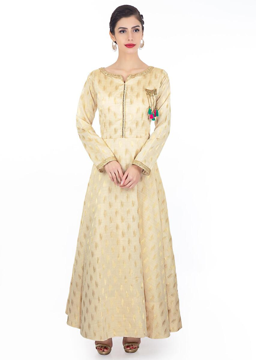 Buy Cream Anarkali Dress In Chanderi Silk Paired Withcoral Brocade Dupatta  With Teal Border Online - Kalki Fashion