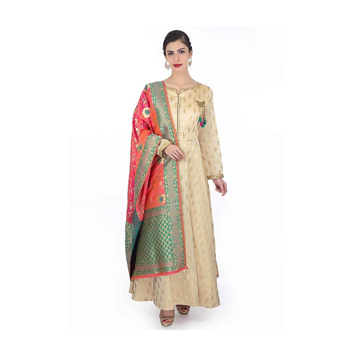 d264ca3104 Source:https://www.kalkifashion.com/chanderi-silk-cream-anarkali-dress  -paired-with-coral-brocade-dupatta-with-teal-border-only-on-kalki.html